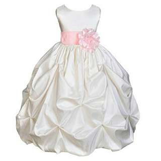 RCSPG010473 - Stereo Flower Ruched Flower Girl Dress