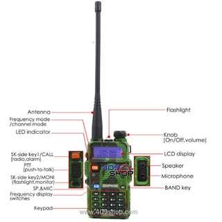BAOFENG UV-5R-Camouflage-UU Radio w/3800mah 2-123CC 對講機