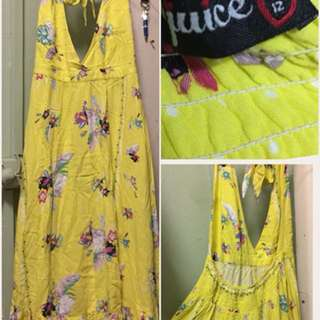 Bright Yellow Halterneck Dress - Size 12 (L)
