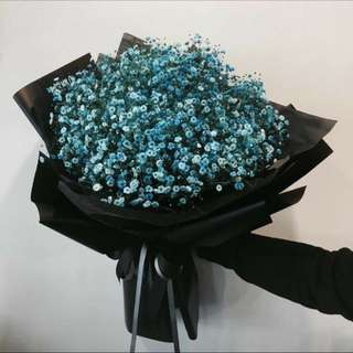 Blue Baby Breath Hand Bouquet For Her - 0111
