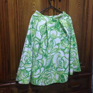 Green and Lime Green colored Midi Skirt