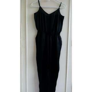 H&M Black Satin Jumpsuit