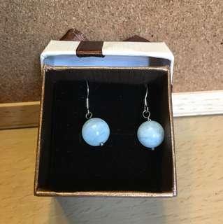 海藍寶耳環