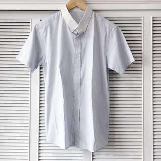 Men's Striped White Shirt with Thin Lt Blue Lines