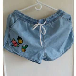 H&M Chambray Shorts (DIY Patches)