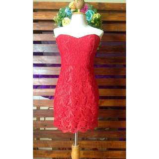 Red Lace Tube Dress