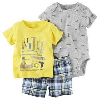 *18M Brand New Instock Carter's 3 Pc Little Short Set Boy Romper Pants Onesies Bodysuits