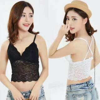 SALE !! Crop Tangtop Lace Tali Silang