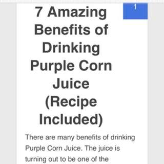 Benefits of Juice made on purple corn