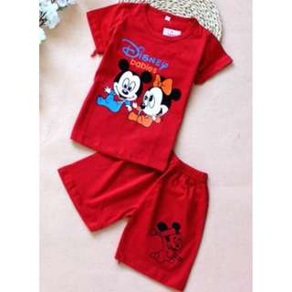Children Clothing - Baby Mickey and Minnie Red/Pink/ Short Sleeve Shirt and Shorts [2 to 3 years]