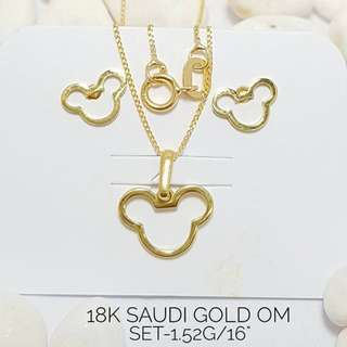 18K SAUDI GOLD NECKLACE AND EARRINGS SET