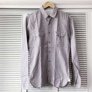 Topman Grey Shirt with Very Thin Stripes