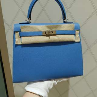 Hermes kelly 25 blue paradise T stamp