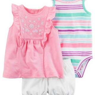 *12M Brand New Carter's 3 Pc Neon Bubble Short Set Girls Onesies Rompers Bodysuits