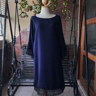 Lace Trim Kimono Dress