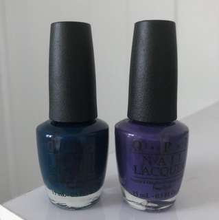 NEW OPI set of 2 authentic nail polishes - beautiful dark green and dark purple - cream, full size
