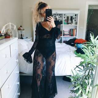 Lace bodysuit and maxi skirt