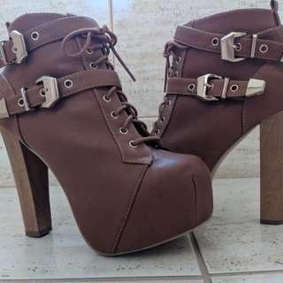 Brown Platform Tie Boots