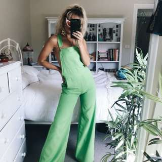 Green flared overalls