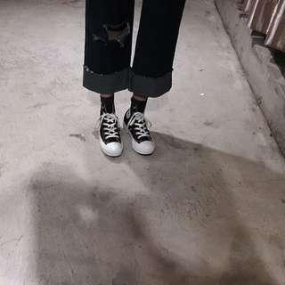 高腰破洞寬褲(正韓)