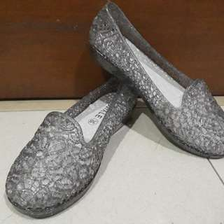 Silver Sparkling Jelly Shoes