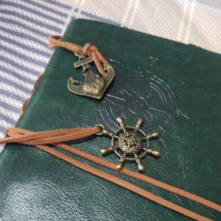 Leather cover notebook/ journal with metal charms