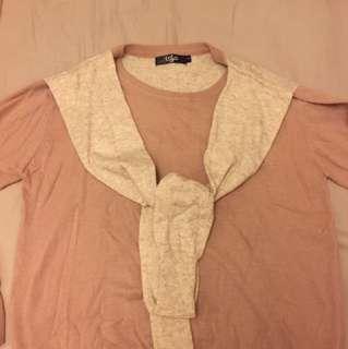 專櫃 LaLa Moda 假兩件 65%羊毛上衣
