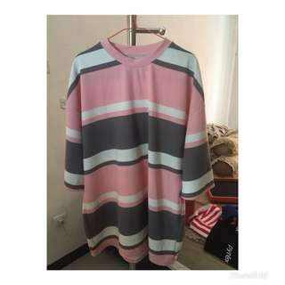 MADE IN KOREA women blouse stripe pakaian wanita atasan blus garis garis
