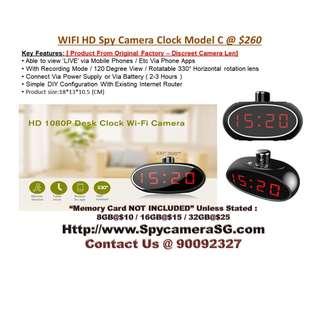 spy camera ip clock with rotating lens