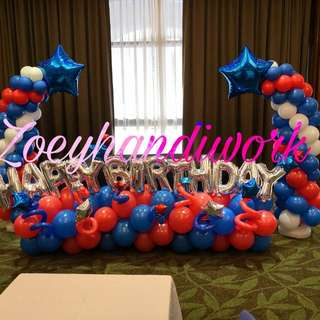 Star happy birthday balloon decoration in red and blue theme