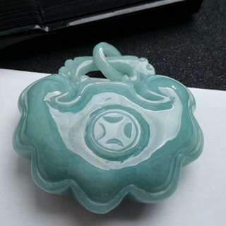 🎋Grade A 冰糯 长命锁 Longevity Lock Jadeite Jade Pendant/Display 🎋