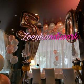 Fancy birthday balloon decoration at zoeyhandiwork, helium balloon and foil number balloons