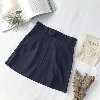 原宿學院風 寶藍色短裙