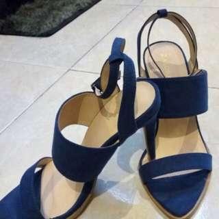 Zalora blue suede heels