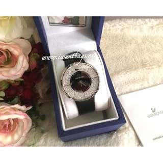 Swarovski Crystalline Black Watch Silver Hardware