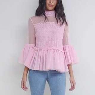 ASOS 粉紅色紗花上衣