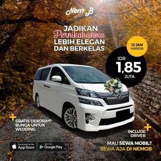 Promo sewa mobil Toyota Vellfire di Jakarta (wedding/non-wedding). Hubungi Nemob.id