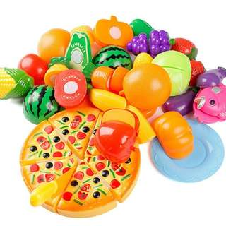 24 PIECES CHILDREN PLAY TOY CUTTING VEGETABLES AND FRUIT SET
