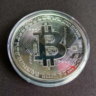 BITCOIN in Silver Plated Metal Coin