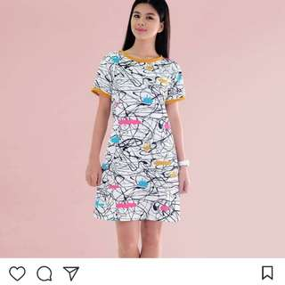 Abstract dress with mustard lining (actual photos)