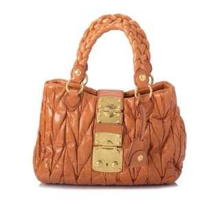 Miu Miu Nappa Leather Top Handle Bag