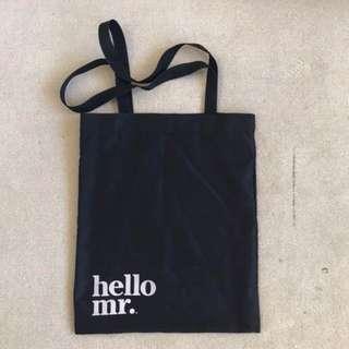 Hello Mr black tote bag