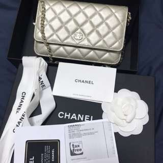 Chanel Wallet on Chain in light gold ghw