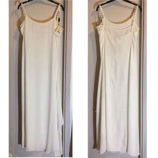 Authentic Giorgio Armani Emporio Amarni Made in Italy Plain and Simple Minimalist White Beige Long Dress 名牌 真品 意大利 製造 簡約 清純 米白色 長裙 裙 Clean Minimalism 純潔 簡單 Pure Wedding Party 謝師宴 Grad Dinner Ball 晚宴 婚禮 Bridesmaid 伴娘 engaged 定婚 #byebyesummer