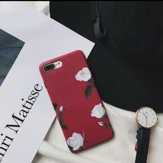 酒紅白玫瑰手機殼