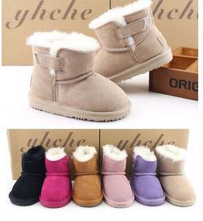 牛皮羊毛兒童雪地靴男女童皮毛壹體親子鞋保暖嬰兒寶寶棉靴軟底冬