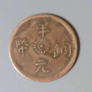 半元銅幣 背滇字