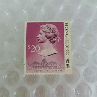 前香港英女皇頭郵票 面積$20