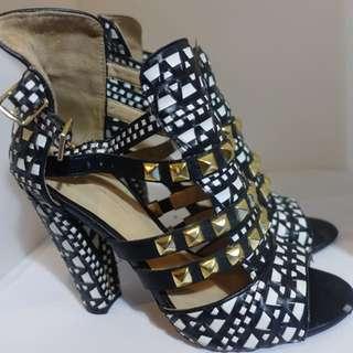Zara Black and White studded high heeled sandals