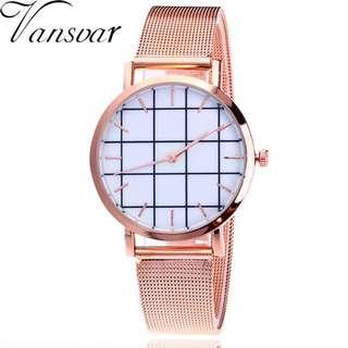 Jam Tangan Vansvar Brand Silver And Gold Mesh With Pattern